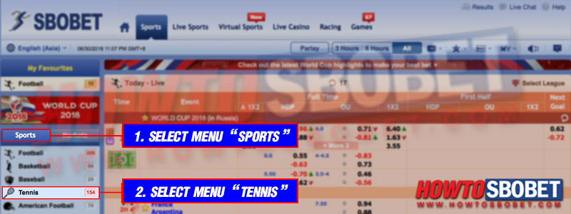 """Select """"Sports"""" and then select """"Tennis"""""""