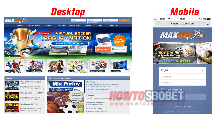 Page layout of maxbet website